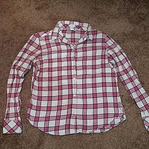 Pink and White Women's Flannel